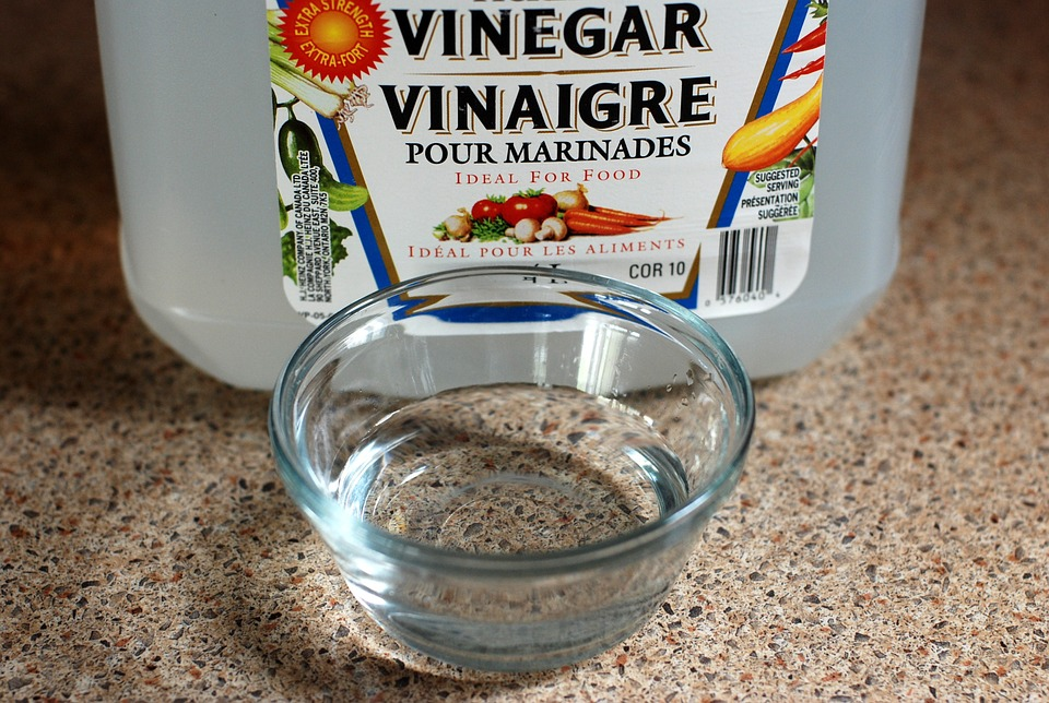 vinegar and bottle of vinegar for cleaning drain