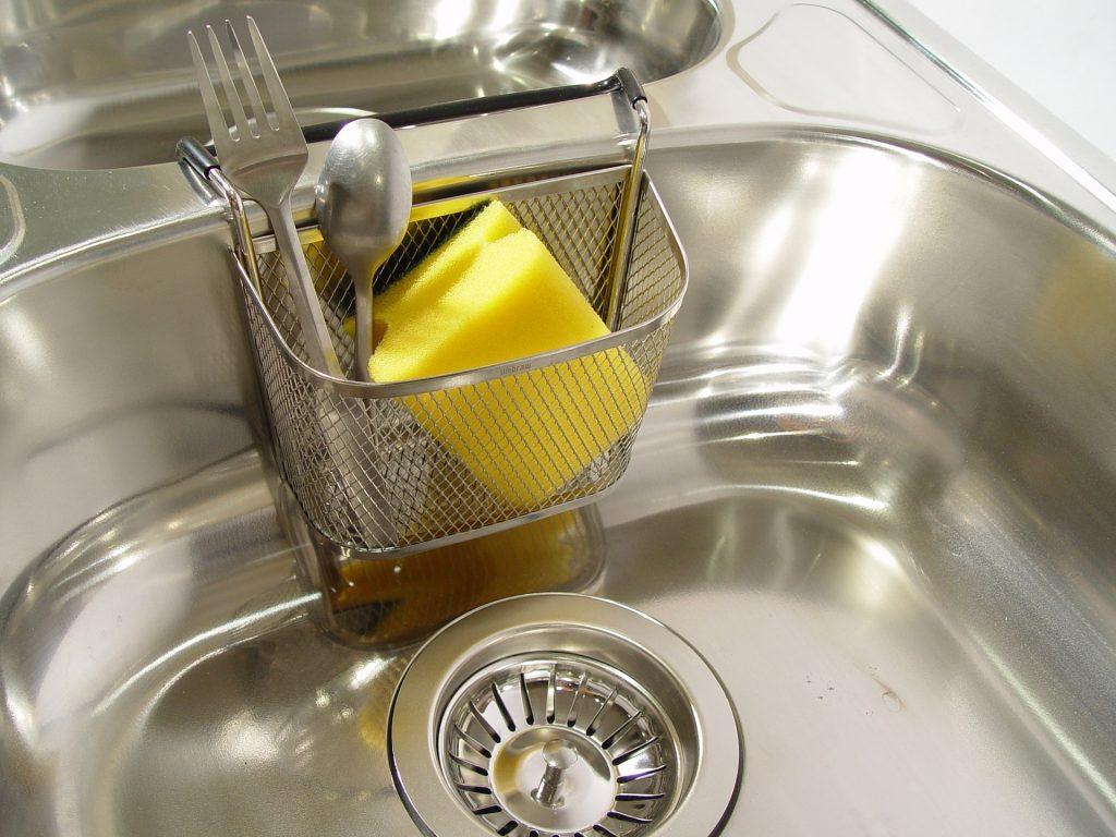 kitchen sink with sponge